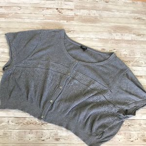 Torrid Gray Cropped S/S Sweater Shrug in Size 4